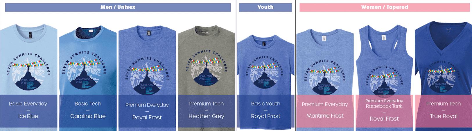 Shirt Options - 7 Summits Series