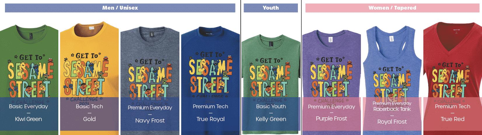 Get to Sesame Street Challenge Shirt Options